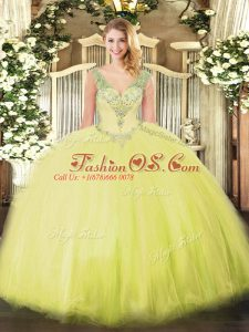 Top Selling Beading Quinceanera Dresses Yellow Green Lace Up Sleeveless Floor Length