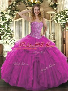 Fancy Sleeveless Floor Length Beading and Ruffles Lace Up Quinceanera Gown with Fuchsia
