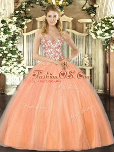 Dynamic Orange Organza Lace Up Straps Sleeveless Floor Length Quinceanera Dress Beading and Appliques