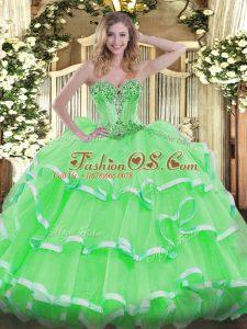 Sweetheart Sleeveless Lace Up Sweet 16 Dresses Organza