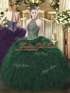 Dazzling Dark Green Taffeta Lace Up Quince Ball Gowns Sleeveless Floor Length Beading and Ruffles