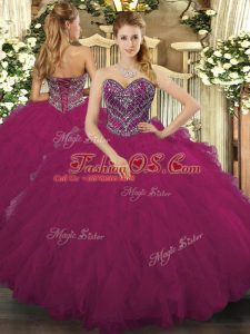 Glittering Fuchsia Sleeveless Floor Length Beading and Ruffled Layers Lace Up Sweet 16 Dress