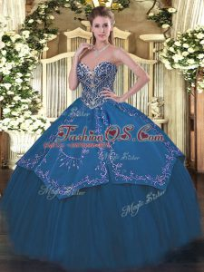 Perfect Sleeveless Floor Length Beading and Embroidery Lace Up Quinceanera Dresses with Blue