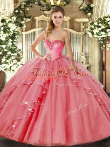 Trendy Watermelon Red Sleeveless Beading and Ruffled Layers Floor Length 15 Quinceanera Dress