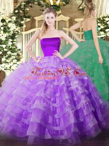 Lilac Sleeveless Tulle Zipper Quinceanera Gowns for Military Ball and Sweet 16 and Quinceanera