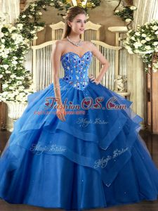 Dynamic Sleeveless Floor Length Embroidery and Ruffled Layers Lace Up Quinceanera Gowns with Blue