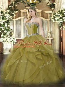 Floor Length Lace Up Quinceanera Dresses Olive Green for Military Ball and Sweet 16 and Quinceanera with Beading and Ruffles
