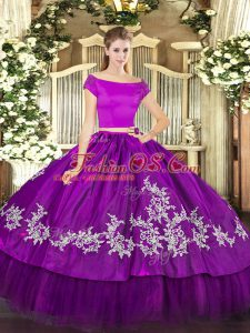 Short Sleeves Organza and Taffeta Floor Length Zipper Quinceanera Dresses in Purple with Embroidery