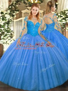 Ball Gowns Sweet 16 Quinceanera Dress Baby Blue Scoop Tulle Long Sleeves Floor Length Lace Up