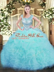 Delicate Organza Scoop Sleeveless Lace Up Beading and Ruffles and Pick Ups Quinceanera Dress in Aqua Blue