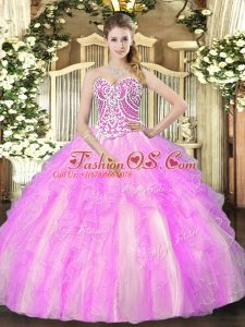 Gorgeous Lilac Lace Up Quinceanera Dresses Beading and Ruffles Sleeveless Floor Length