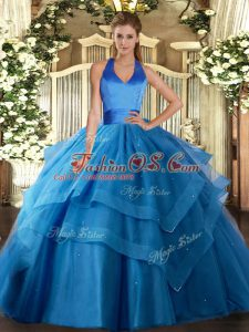 Best Floor Length Lace Up Quinceanera Gown Blue for Military Ball and Sweet 16 and Quinceanera with Ruffled Layers