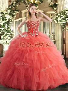 Floor Length Watermelon Red Quinceanera Gown Tulle Sleeveless Embroidery and Ruffles