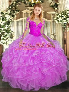 Long Sleeves Floor Length Lace and Ruffles Lace Up 15 Quinceanera Dress with Lilac