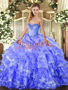 Blue Organza Lace Up Sweetheart Sleeveless Floor Length Sweet 16 Dresses Beading and Ruffled Layers