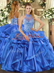 Amazing Lace Up Sweet 16 Dresses Blue for Sweet 16 and Quinceanera with Beading and Embroidery and Ruffles
