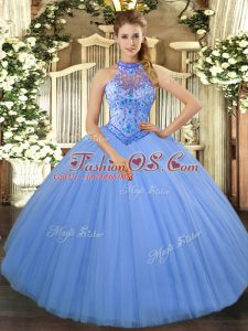 Baby Blue Halter Top Lace Up Beading and Embroidery Quinceanera Dress Sleeveless