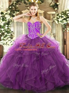 High Quality Floor Length Purple 15 Quinceanera Dress Sweetheart Sleeveless Lace Up