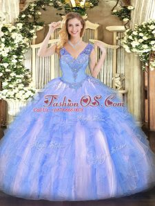 Exceptional Light Blue V-neck Lace Up Beading and Ruffles Sweet 16 Dresses Sleeveless
