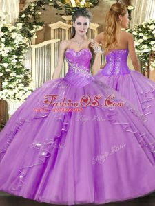 Ball Gowns Quinceanera Dress Lavender Sweetheart Tulle Sleeveless Floor Length Side Zipper