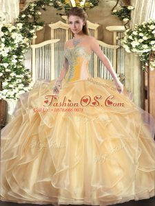 Nice Champagne Lace Up Sweetheart Beading and Ruffles Quinceanera Gowns Organza Sleeveless