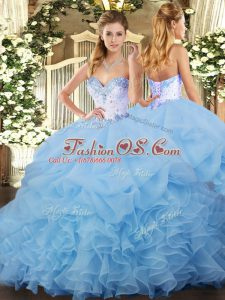 Organza Sleeveless Ball Gown Prom Dress and Beading and Ruffles and Pick Ups