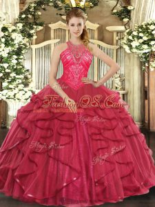 Pretty Sleeveless Organza Floor Length Lace Up Vestidos de Quinceanera in Coral Red with Beading and Ruffles