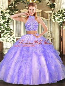 Sleeveless Beading and Ruffled Layers Criss Cross 15 Quinceanera Dress