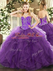 Gorgeous Eggplant Purple Ball Gowns Sweetheart Sleeveless Tulle Floor Length Lace Up Beading and Ruffles Sweet 16 Quinceanera Dress