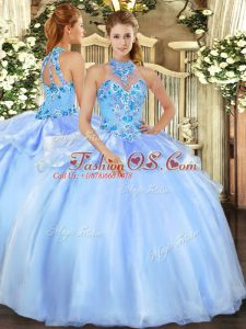 Most Popular Sleeveless Embroidery Lace Up Quinceanera Gown
