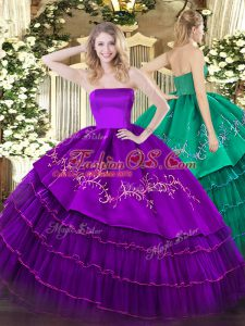 Glittering Purple Strapless Neckline Embroidery and Ruffled Layers Sweet 16 Dress Sleeveless Zipper