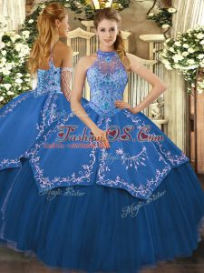 Custom Design Floor Length Lace Up Vestidos de Quinceanera Teal for Sweet 16 and Quinceanera with Beading and Embroidery