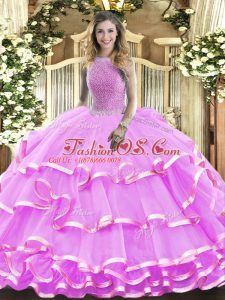 Sleeveless Floor Length Beading and Ruffled Layers Lace Up Sweet 16 Dress with Lilac