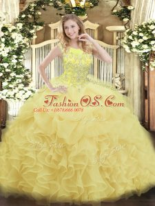 Affordable Yellow Ball Gowns Scoop Sleeveless Organza Floor Length Zipper Beading and Ruffles Sweet 16 Dress