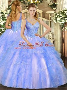 Suitable V-neck Sleeveless Lace Up Quinceanera Dresses Blue Tulle