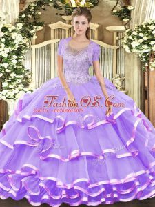 New Style Lavender Ball Gowns Beading and Ruffled Layers Sweet 16 Dress Lace Up Tulle Sleeveless Floor Length