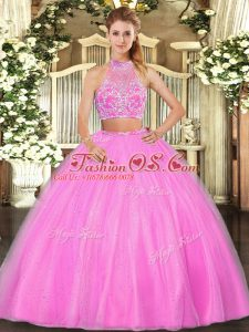 Dramatic Hot Pink Halter Top Criss Cross Beading Quinceanera Gown Sleeveless