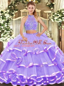 Beading and Ruffled Layers Sweet 16 Quinceanera Dress Lavender Criss Cross Sleeveless Floor Length