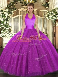Flirting Sleeveless Lace Up Floor Length Sequins Ball Gown Prom Dress
