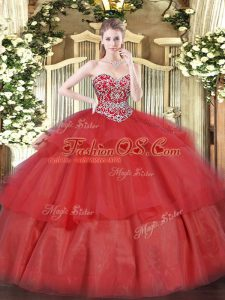 Sleeveless Floor Length Beading and Ruffled Layers Lace Up Sweet 16 Quinceanera Dress with Red