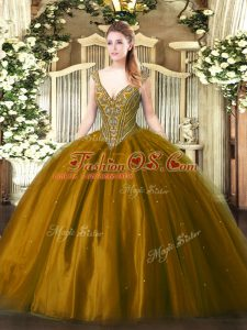 Floor Length Ball Gowns Sleeveless Brown Quince Ball Gowns Lace Up