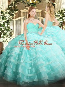 New Style Sweetheart Sleeveless Sweet 16 Dresses Floor Length Beading and Lace and Ruffled Layers Aqua Blue Tulle