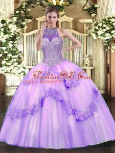 Artistic Halter Top Sleeveless Tulle Quinceanera Gowns Beading and Appliques Lace Up
