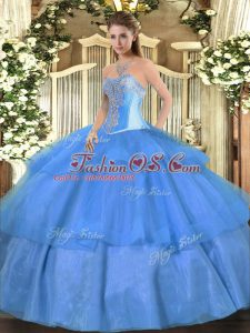 Colorful Baby Blue Ball Gowns Beading and Ruffled Layers Vestidos de Quinceanera Lace Up Tulle Sleeveless Floor Length