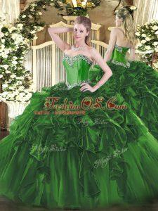Floor Length Dark Green Sweet 16 Quinceanera Dress Sweetheart Sleeveless Lace Up