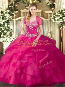 Tulle Sweetheart Sleeveless Lace Up Beading and Ruffles Quince Ball Gowns in Hot Pink