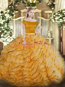 Orange Off The Shoulder Neckline Appliques and Ruffled Layers Quinceanera Dresses Short Sleeves Zipper