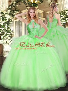 Nice Sleeveless Floor Length Beading Lace Up 15 Quinceanera Dress with