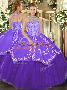 Elegant Floor Length Purple Quince Ball Gowns Halter Top Sleeveless Lace Up