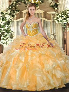 Affordable Sleeveless Organza Floor Length Lace Up 15th Birthday Dress in Orange with Beading and Ruffles